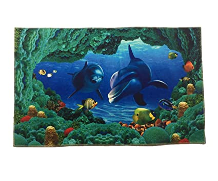 Amazon Blue Sea Theme Dolphin 3d Ocean Dolphin Fishes Pattern