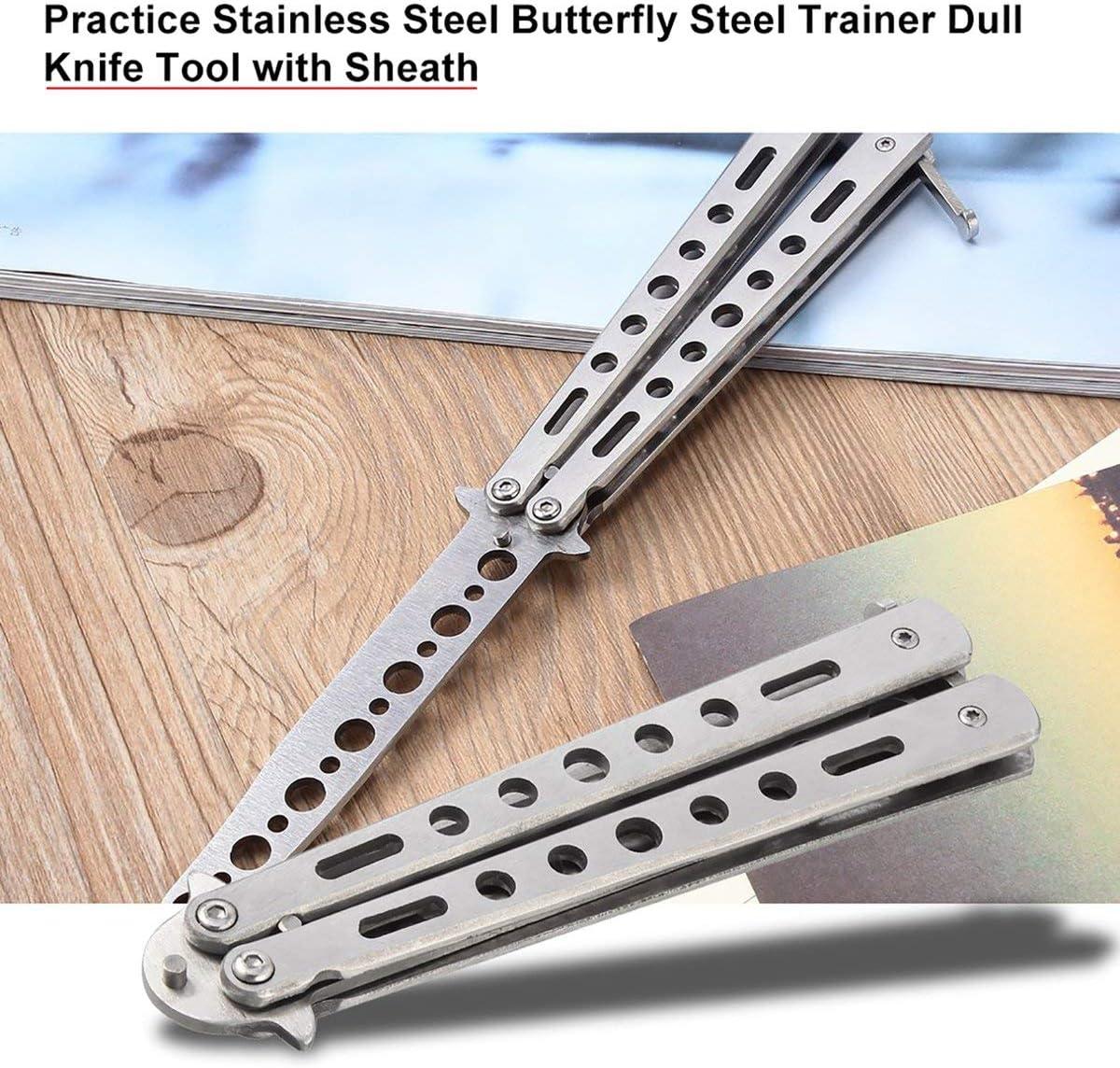 Silber Silber Metall Praxis Butterfly Trainer Trainingsmesser Dull Tool mit Scheide Klappmesser Dull Tool Outdoor Campingmesser