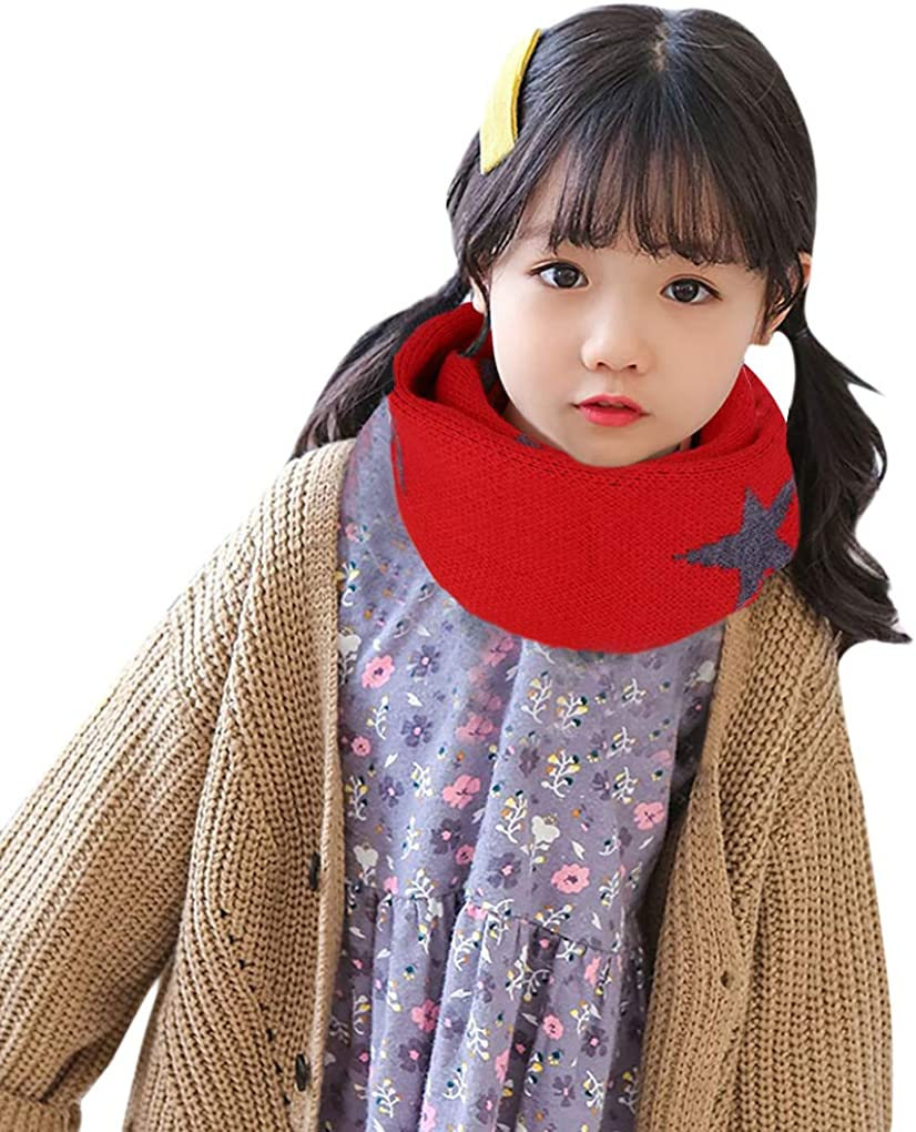 BXT Fashion 1-8 Y Kids Soft Skin-friendly Neck Warmer Thermal Neckerchief Printing Cute Warm Wool Knit Neck Infinity Scarf For Baby Toddlers