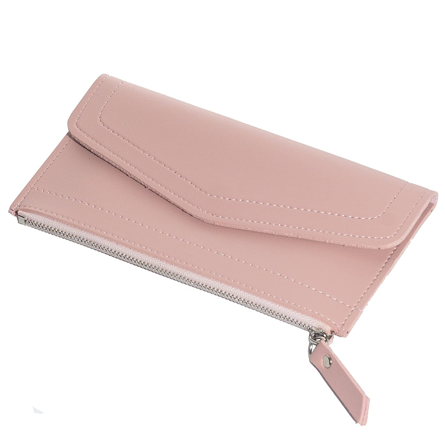 90b28a722bf6 CKLT Women's Long Soft PU Leather Zipper Ultra-Thin Purse Wallet  Ladies&Girls (pink)
