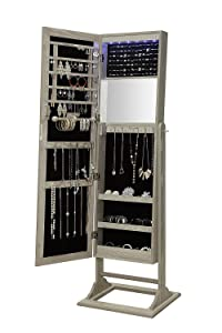 Abington Lane Standing Jewelry Armoire - Lockable Cabinet Organizer with Full Length Mirror and LED Lights (Heathered Wood)