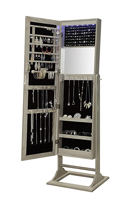 . Abington Lane Standing Jewelry Armoire   Lockable Cabinet Organizer with  Full Length Mirror and LED Lights  Heathered Wood