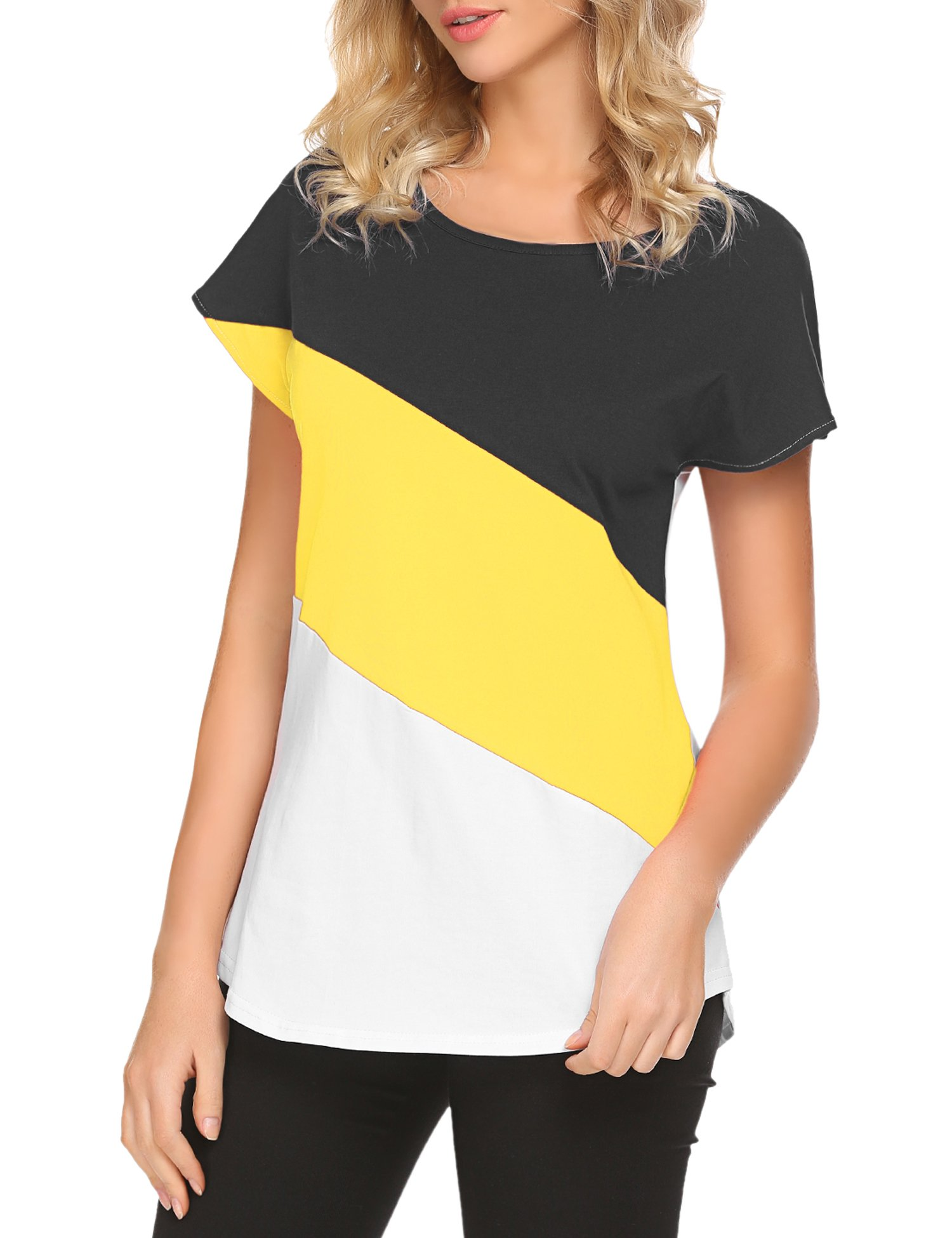 Hount Women's Comfy Pullover Style Short SleeveT Shirt Tops (Black/Yellow/White, X-Large)