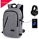 Laptop Backpack, MODAR Business Anti Theft Backpacks with USB Charging Port and Headphone Port fits 15.6 inch Backpack for Men & Women (15.6'' Upgrade Grey)