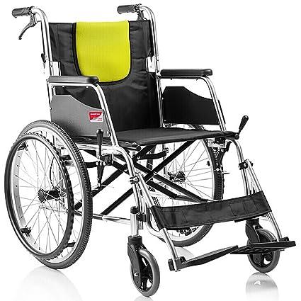 Tx Silla de ruedas Reforzada Aleación De Aluminio Plegable Plegable Asiento Suave Portátil Ancianos Con Discapacidad