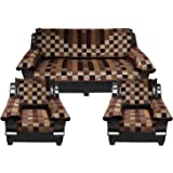 SQUATTY Velvet 5 Seater Sofa Cover Set with 6 Pieces Arms Cover (Set of 12 Pieces), (Brown,Wood Brown,Gold)