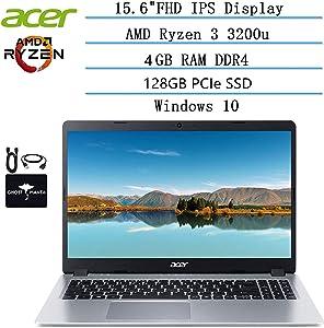 2020 Newest Acer Aspire 5 Slim Laptop 15.6 FHD IPS Display, AMD Ryzen 3 3200u-Dual Core (up to 3.5GHz), Vega 3 Graphics, 4GB RAM DDR4, 128GB PCIe NVMe SSD, Windows 10 HDMI, w/Ghost Manta Accessories