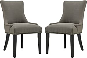 Modway Marquis Modern Elegant Upholstered Fabric Parsons Dining Side Chair With Nailhead Trim And Wood Legs, Set of 2, Granite