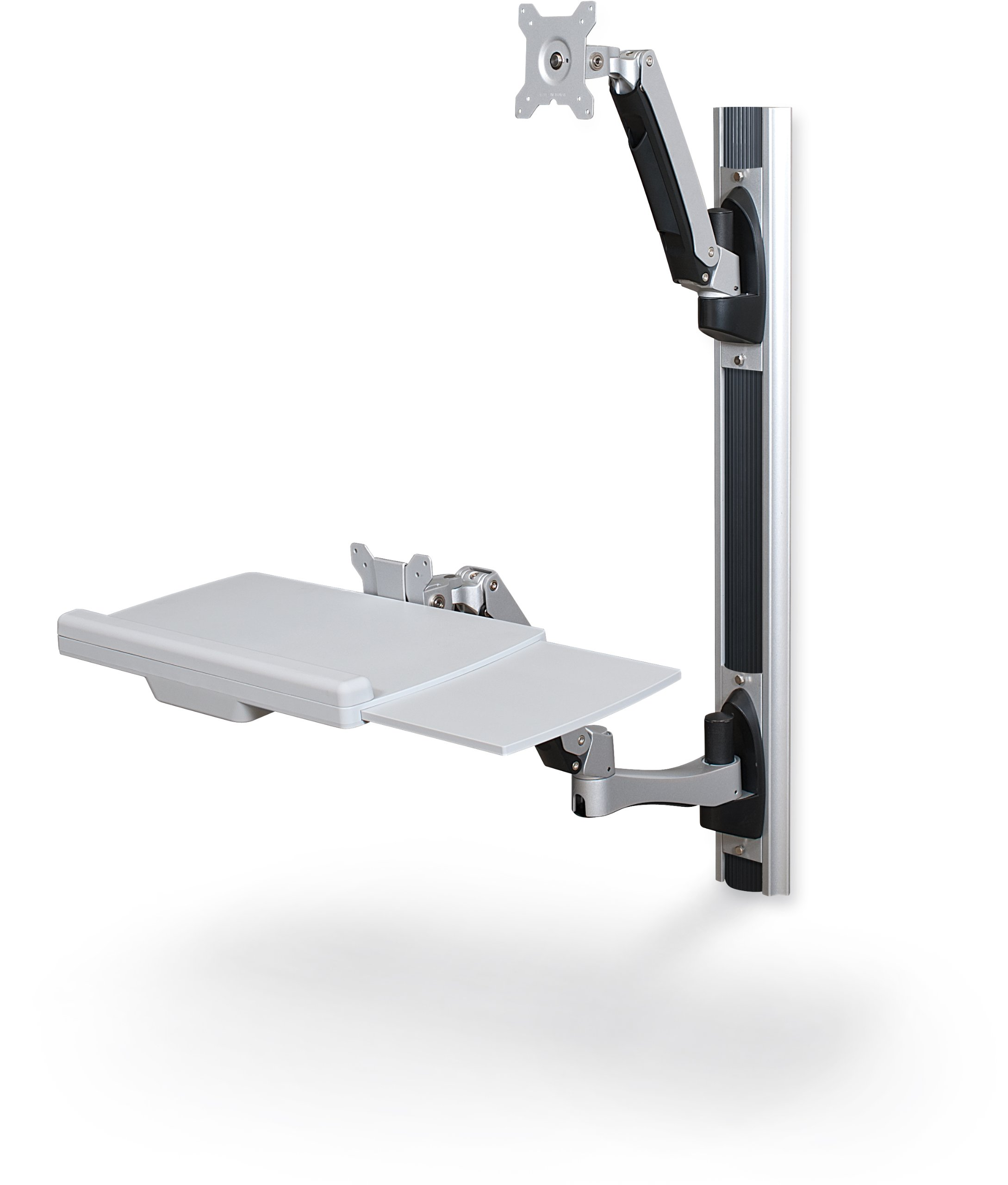 Balt 66644 HG Wall Mount Sit to Stand Workstation, 34.65''H x 22.87''W x 7.91''D