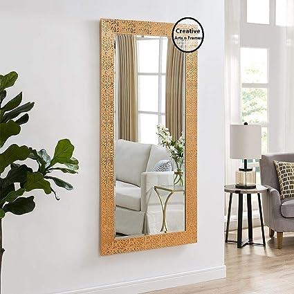 Creative Arts n Frame Long Full Length Vibrant Copper Fiber Wood Framed Wall Mirror    Size - 21 x 40 inch    Mirror with Multipurpose Shelf   