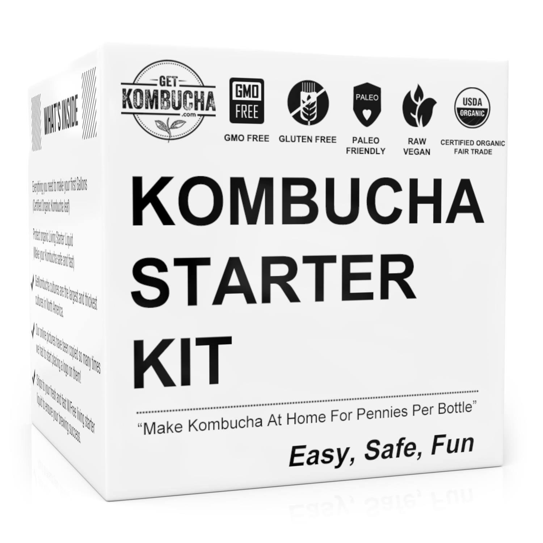 GetKombucha Kombucha Kit PLUS Organic Starter Tea For Brewing Healthy, Delicious, DIY Kombucha Tea Right From Home + 19¢ /Serving vs $5 Store Bottles. Improve Digestion With Homemade Probiotics!