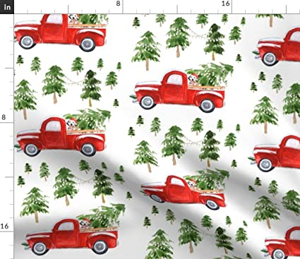 Amazon.com Spoonflower Vintage Christmas Fabric , Red Truck