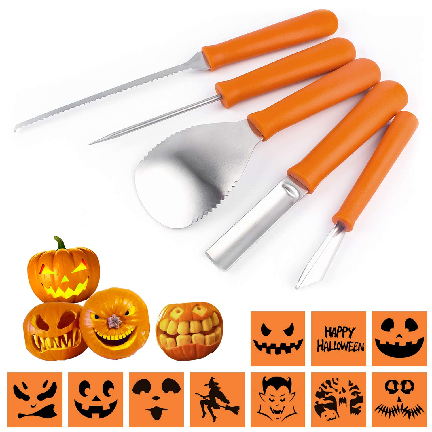 Halloween Pumpkin Carving Kit DIY Fruits Vegetables Pumpkin Lamp,Set of 5 Pieces Stainless Steel Kitchenware FINAL BASE