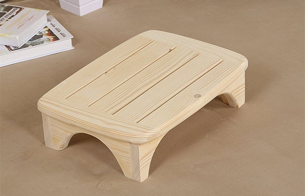 NO PAINT Ready for Paint or Stain -Handcrafted 100% Solid Wood Step Stool - Foot Stool Kitchen Stools Bed Steps small step ladder Bathroom Stools Made for Children And Adults Toddler ,Fully Assembled