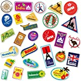 World Travel Locations Suitcase Stickers - 28 von Gepäck Aufkleber Labels Set