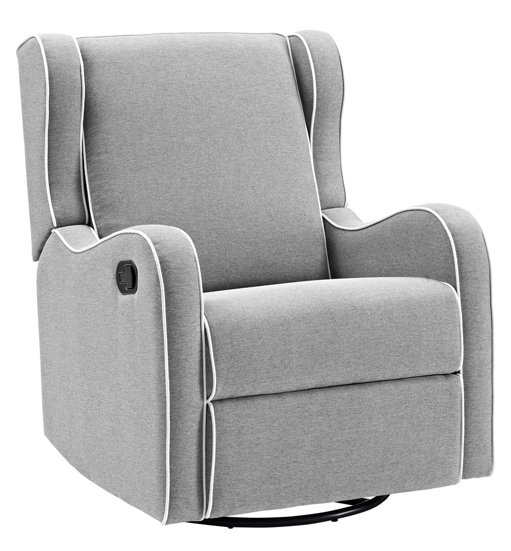 Angel Line Rebecca Upholstered Swivel Gliding Recliner, Gray Linen with White Piping