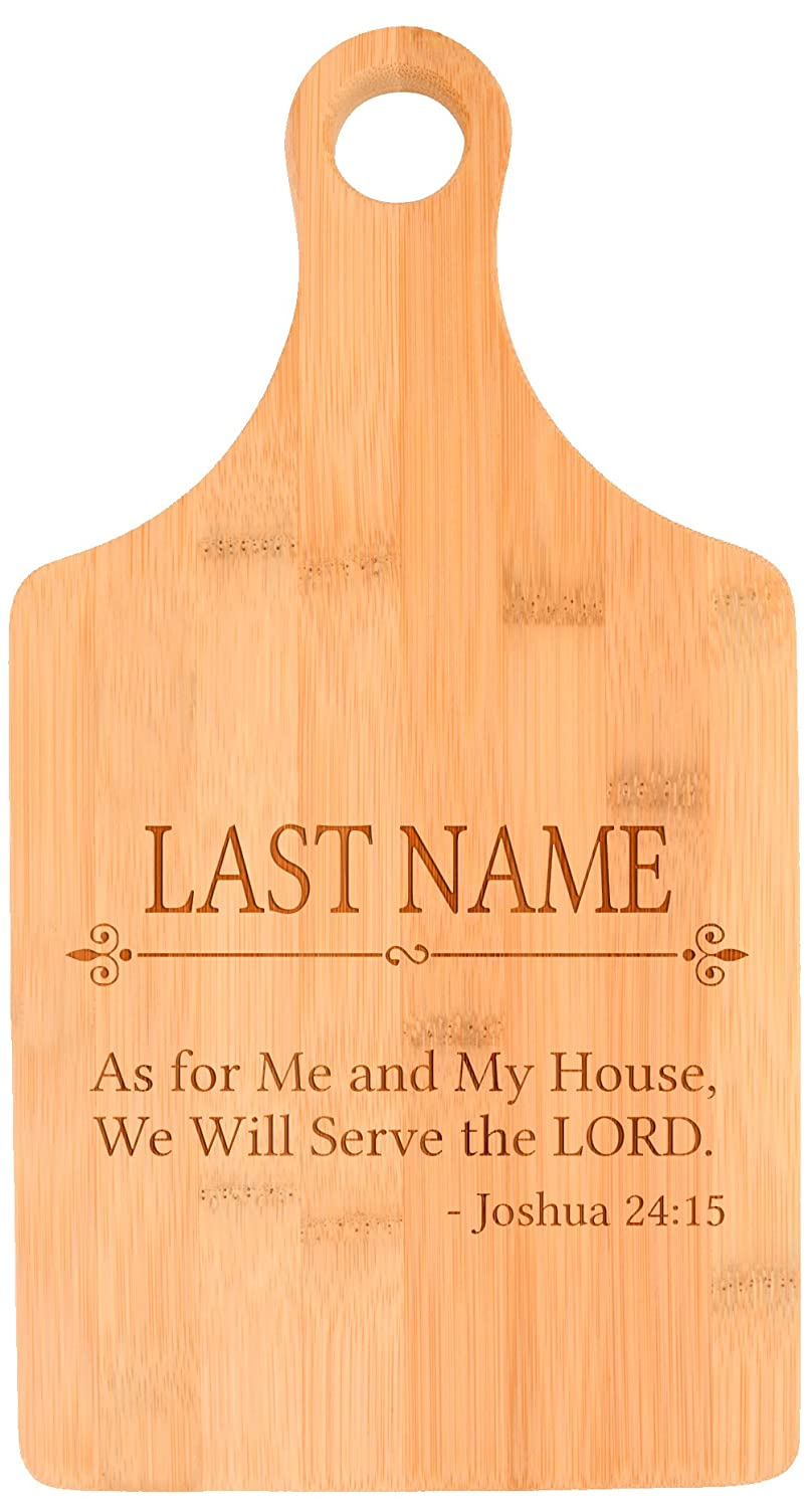 Customized Last Name Serve the Lord Christian Faith Personalized Paddle Shaped Bamboo...