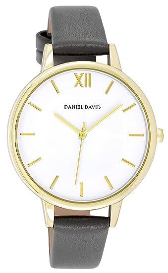 Daniel David - Reloj de Pulsera para Mujer, Moderno, Dorado y Gris Oscuro, Piel sintética, DD17501: Amazon.es: Relojes