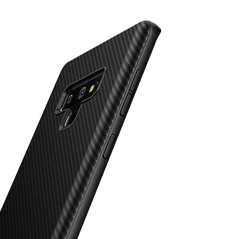 Funda Samsung Galaxy Note 9,[Textura Fibra de Carbono] Carcasa Ligera Silicona Suave TPU Gel Bumper Case Cover de Protección Antideslizante Caso para ...