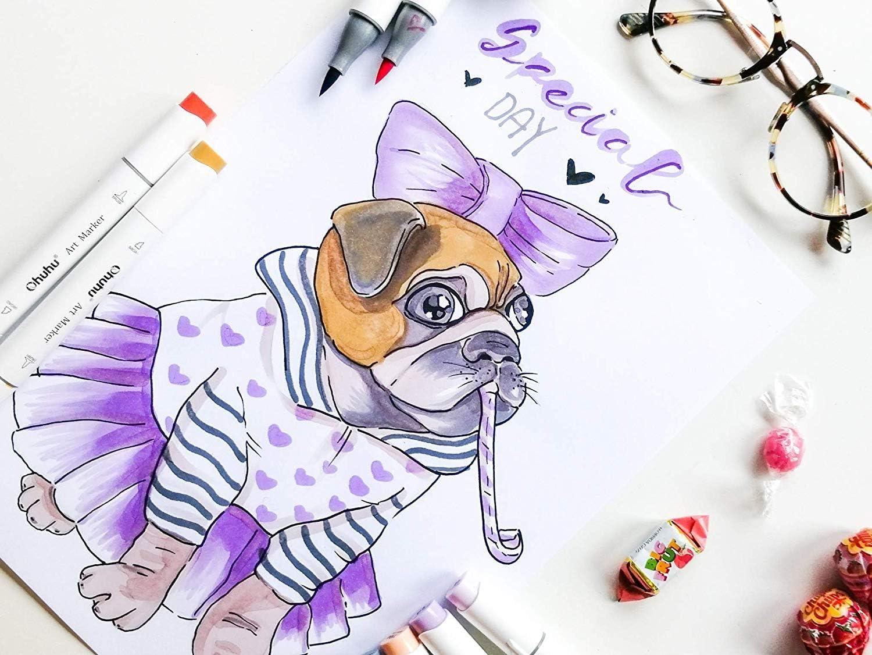 Kalligraphieren feiner Pinsel zum Skizzieren grober Marker f/ür Entw/ürfe und Comics doppelseitige Farbspitze 120 Colour Zeichnen und Illustrieren Brush Marker mit 48 Farben von Ohuhu