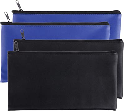 Zipper Bank Bags,4 Pack Money Pouch Bank Deposit Bag PU Leather Cash and Coin Pouch Bank envelopes with Zipper Black