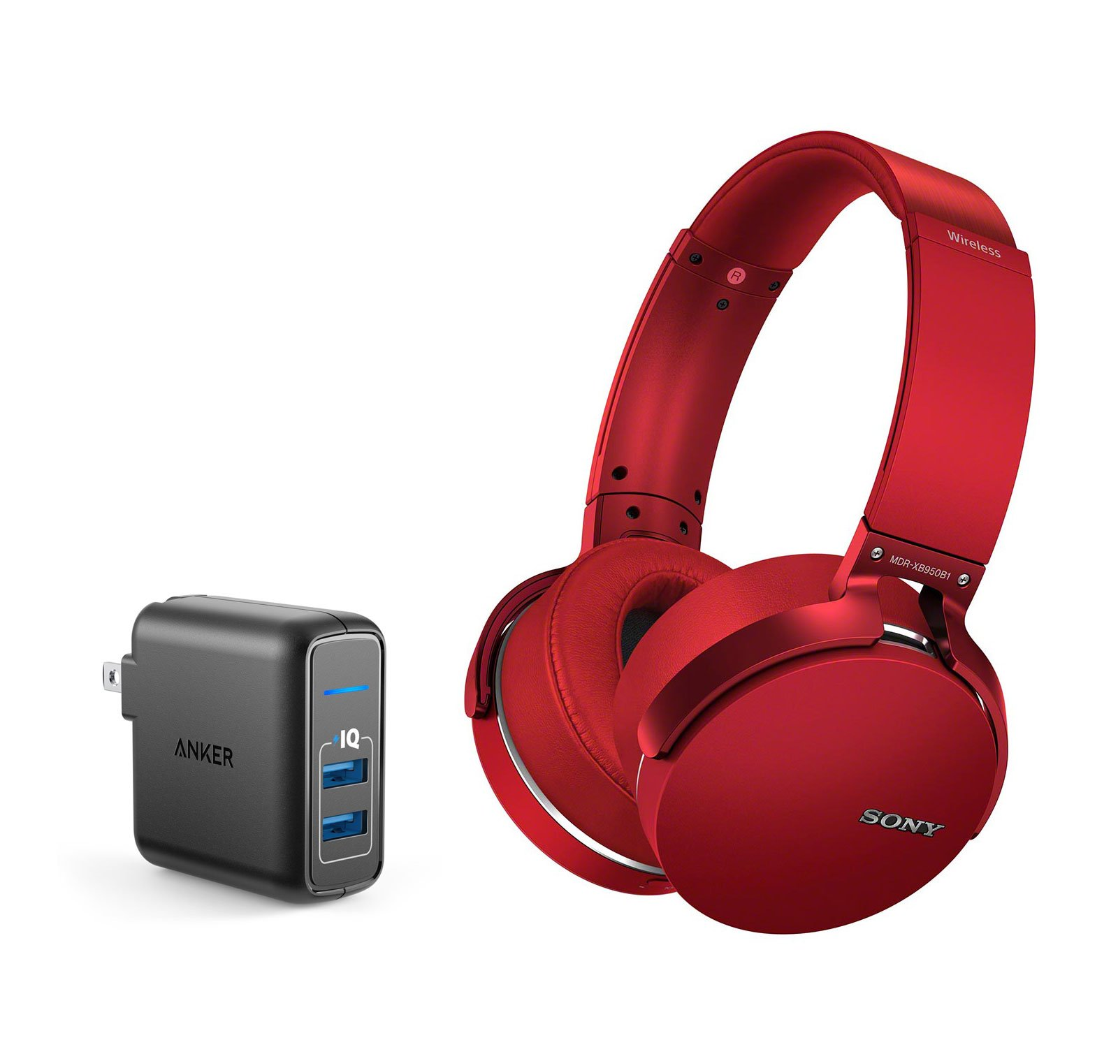 Sony MDRXB950B1/R Over-ear Bluetooth Headphone Bundle with Dual Port 24W USB Travel Wall Charger - Red