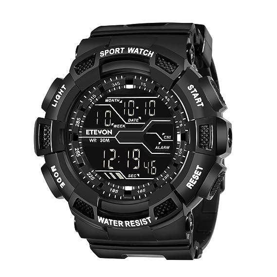 ETEVON - Reloj digital deportivo clásico con retroiluminación LED, de aspecto militar, resistente al