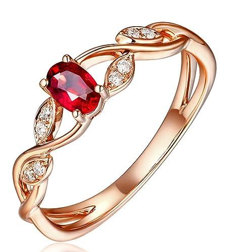 Epinki 18k Oro Anillos para Mujer Cruzar Anillo de Diamante Anillos Compromiso con Blanco Rojo Diamante Rubí: Amazon.es: Joyería