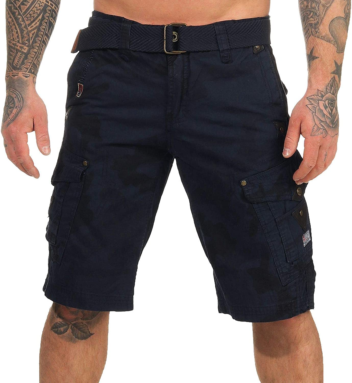 Geographical Norway Cargo Pantaloncini pantaloncini corti bermuda con Cintura breve HUNTER IM Bundle con UD Bandana