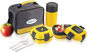 Lunch Box Bag Set for Adults and Kids ~ Pinnacle Insulated Leakproof Thermal Lunch Kit Lunch Bag Thermo bottle 2 Lunch Containers With NEW Heat Release Valve Matching Cutlery - Yellow