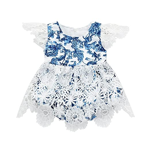 1a7883e39d4 Iuhan® Baby Girls Dress Newborn Infant Lace Floral Print Romper Jumpsuit  Dress Outfits (0