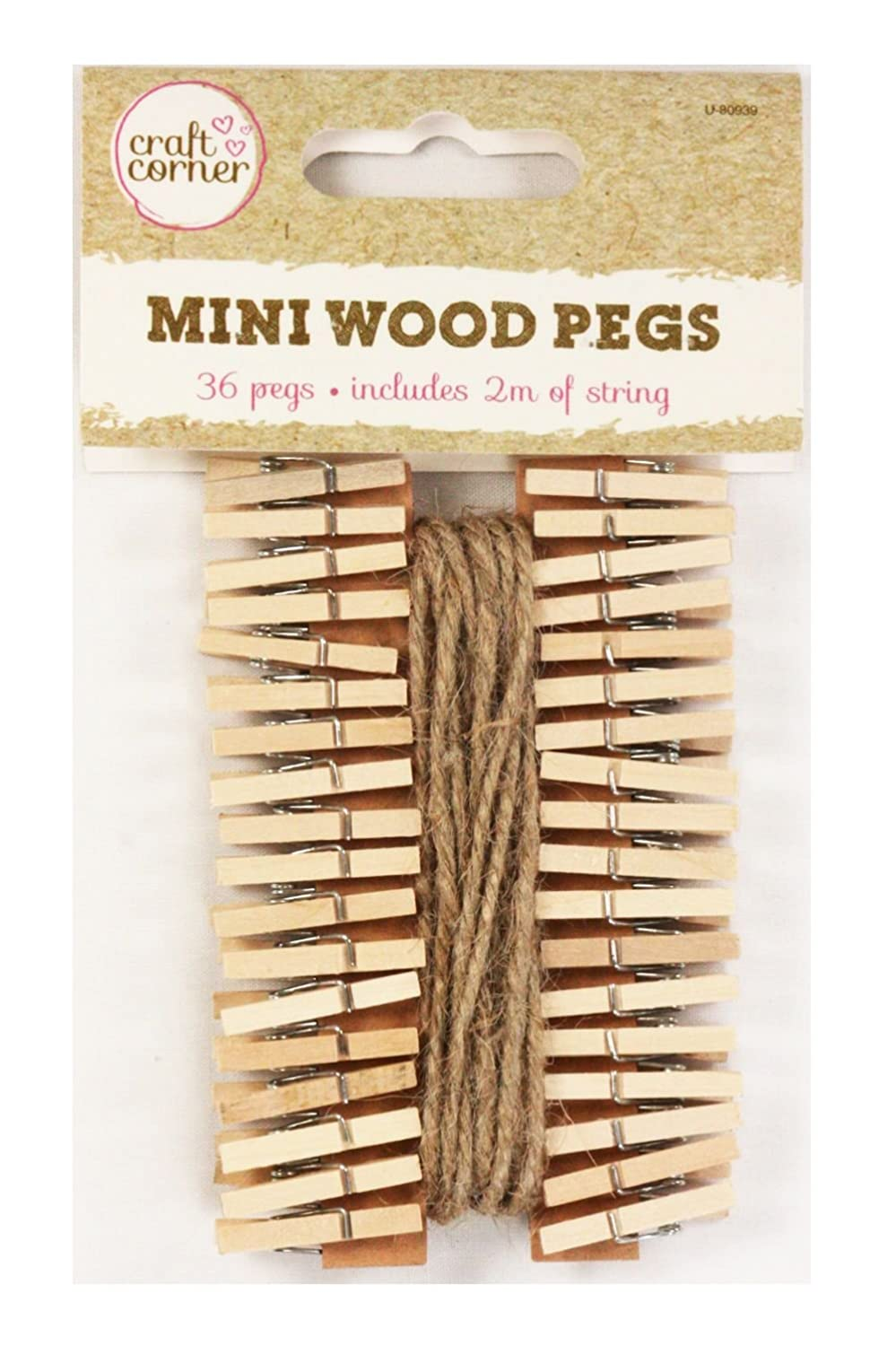 36 Mini Wooden Pegs With 2m Of Jute String Christmas Cards Photos Notes