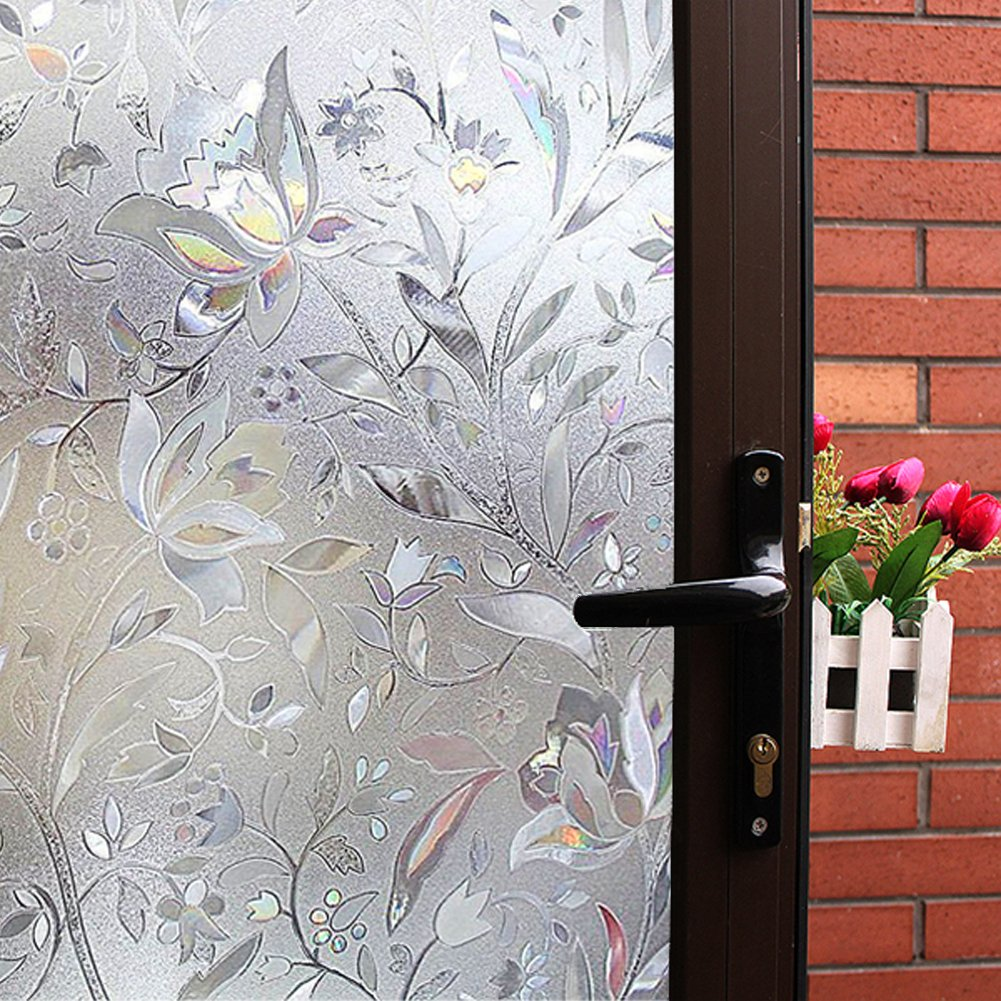 Mikomer Tulip Decorative Window Film,No Glue Frosted Privacy Film,Stained Glass Door Film,Reflective Window Decoration/Static Cling/Vinyl/Heat Control/Anti UV for Home and Office,35In. by 118In.
