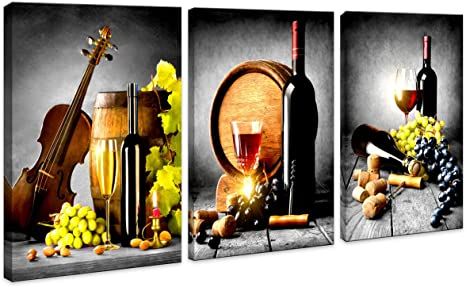 Amazon Com Kitchen Wall Art Decor Canvas Artwork Fruits Grapes Wine Bottle Foods Canvas Painting 3 Pieces Canvas Art Contemporary Nature Pictures For Dining Room Wall Decor Home Decoration 16x24inch Posters