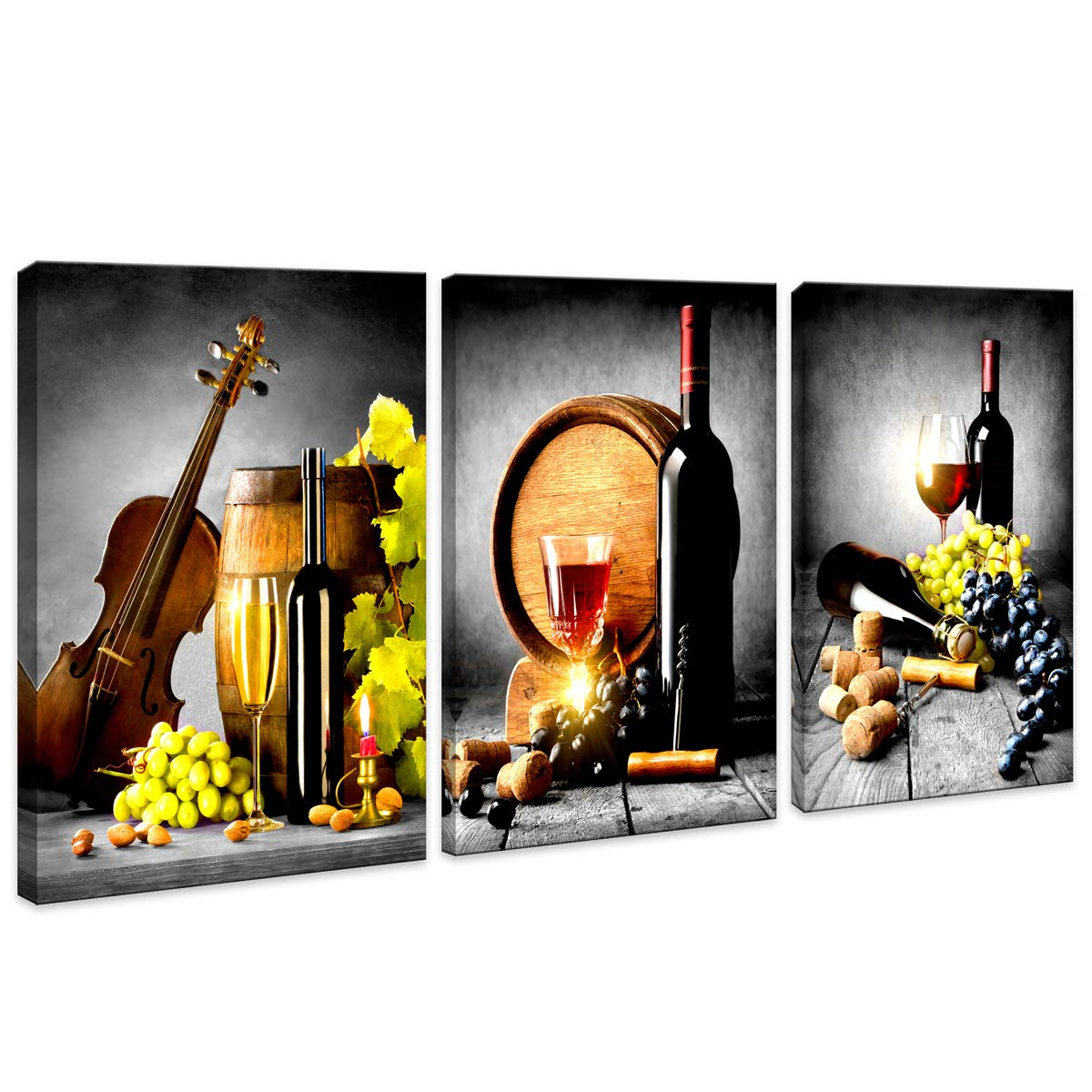 HUADAOART Kitchen Wall Art Decor Canvas Artwork Fruits Grapes Wine Bottle Foods Canvas Painting - 3 Pieces Canvas Art Contemporary Nature Pictures for Dining Room Wall Decor Home Decoration 16x24inch