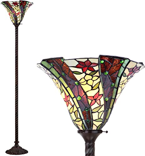 Chloe Lighting CH33471BD18-FL2 Tiffany Empress, Tiffany-style Dragonfly 2 Light Floor Lamp 18-Inch Shade, Multi-colored
