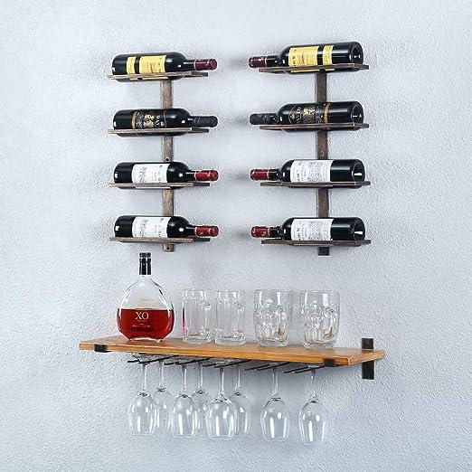 Wine Glass Rack,Wine Bottle Holders,Wine Glass Hanging Racks,Red Wine Display Stand Home Decoration Kitchen Dining Bar Accessories Metal Retro Wine Storage Rack Shelf Bracket