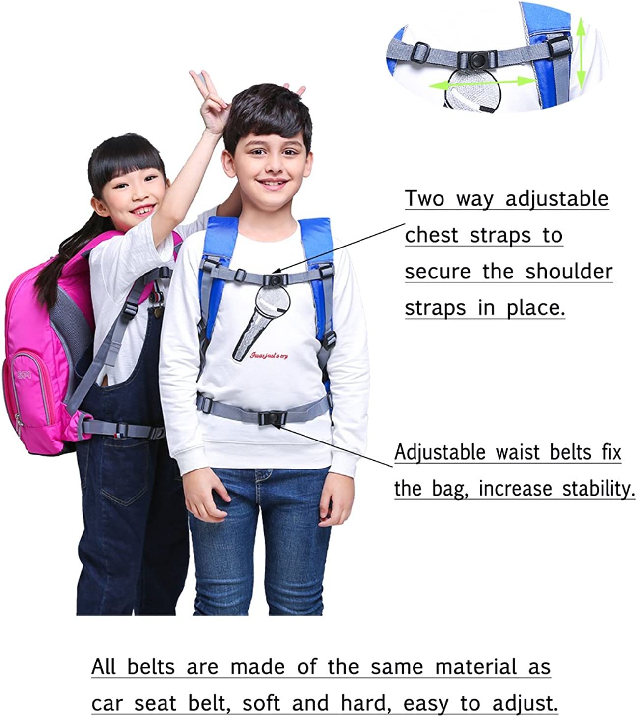 SPI Ergonomic School Backpack Waterproof Anti-tear Durable Laptop Packsack For Kids Students Children Light Blue Small