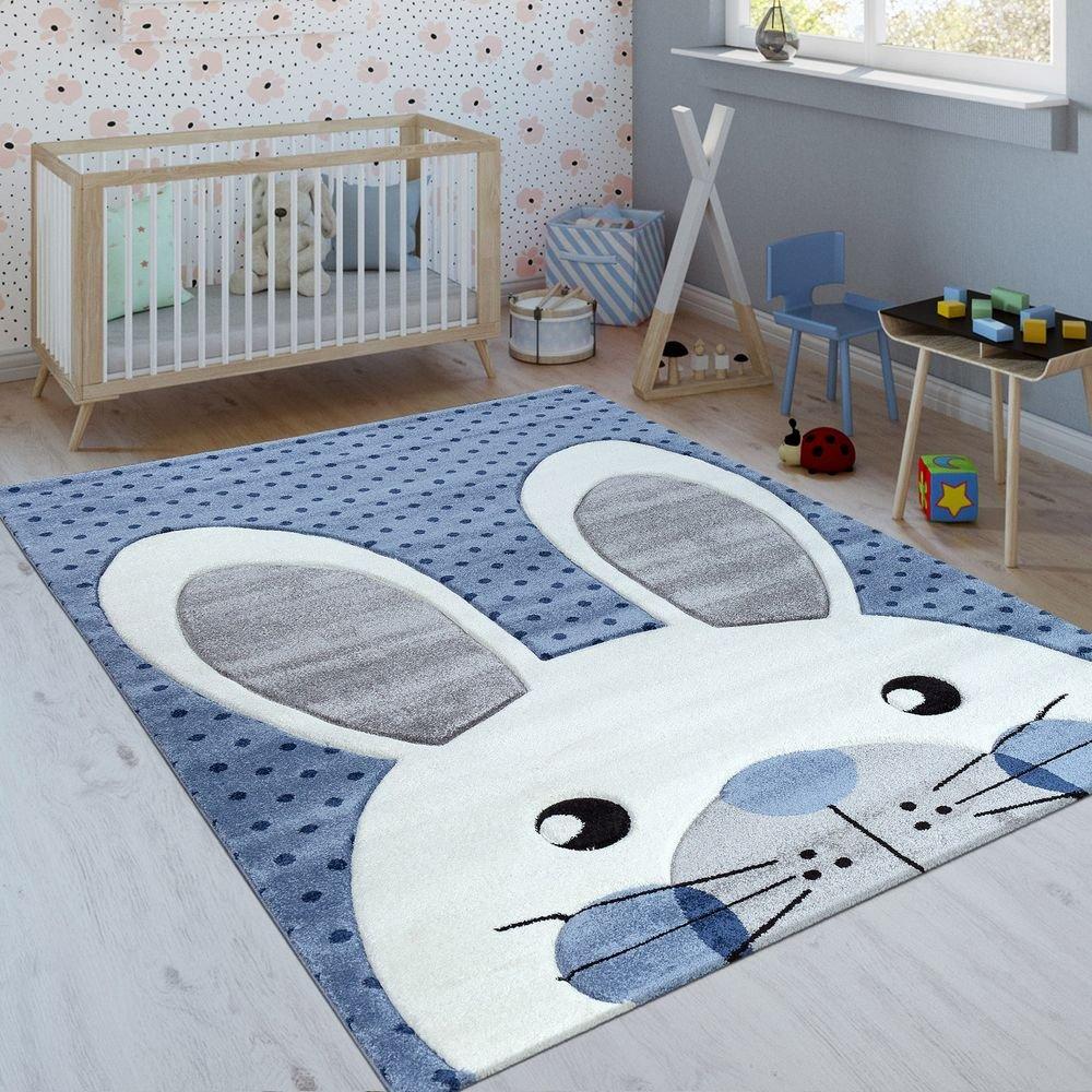 Paco Home Kinderteppich Indigo Blau Trend Modern Niedlicher Hase Gepunktet 3D Blau, Grösse:120x170 cm