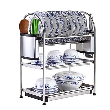 Estructura De Acero para Cocina De 3 Capas/Estante para Platos/Estante para Desagüe