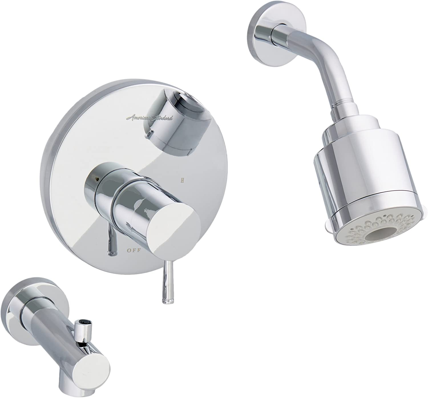 American Standard T064508.002 Serin Pressure Balance Bath and Shower Trim with Flowise 3-Function Showerhead, Polished Chrome