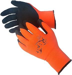 Gloves -- Ripit Accessories LLC Competition Orange Latex Dipped Work Glove --Automotive & Construction -- Superior Dexterity, Breathability, & Durability -- 15 Gauge (Large, Orange)