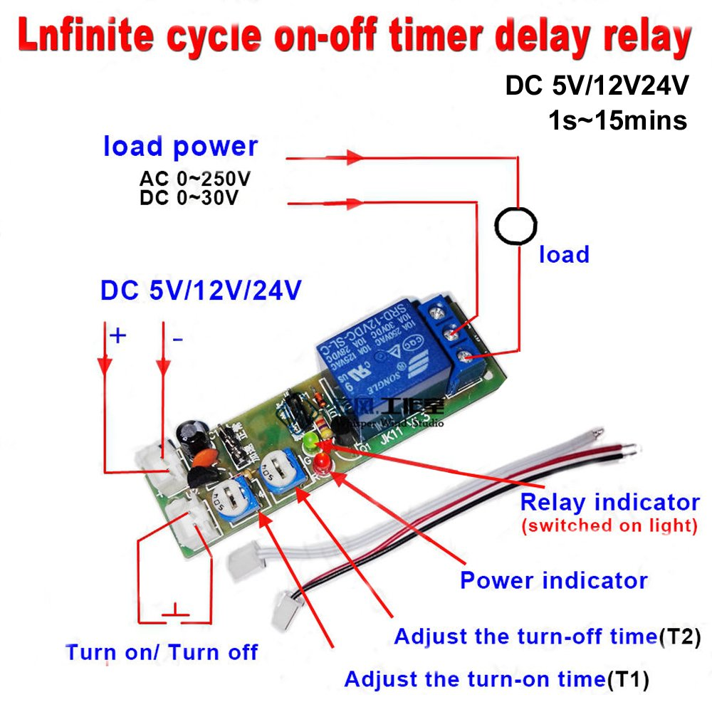 Push On Off Relay Switch Circuit Diagram Qianson Dc 5v 12v 24v Infinite Cycle Delay Timing Timer Loop Module 1s15min