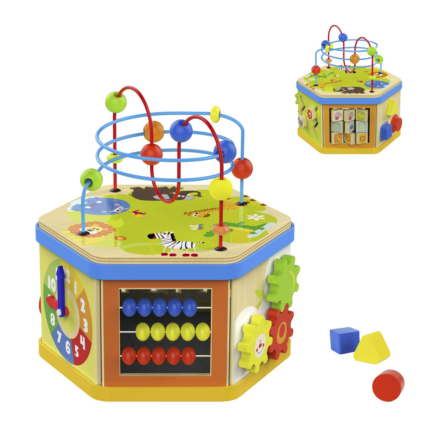 TOP BRIGHT Activity Cube Toys Baby Educational Wooden Bead Maze Shape Sorter 7-in-1 Toys for 1 Year Old Boy and Girl Toddlers Gift by TOP BRIGHT (Image #1)
