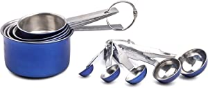 MITBAK Measuring Cup (Blue) 10-Piece Measuring Cups and Spoons Set | Sleek Stainless Steel Kitchen Gadgets | Premium Stackable Cooking and Baking Supplies | Upgrade Your Cooking Utensils Today