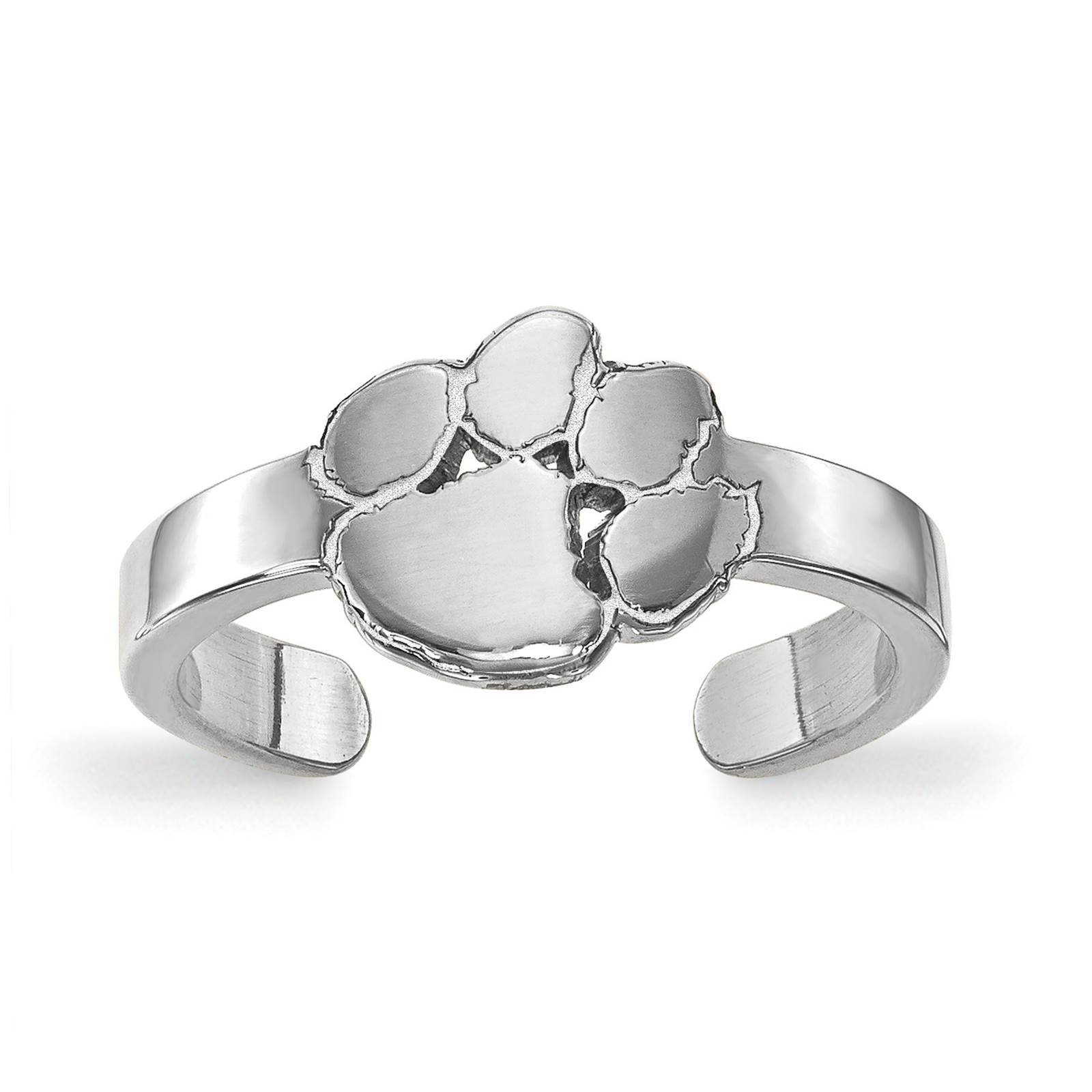 925 Sterling Silver Rhodium-plated Laser-cut Clemson University Toe Ring by Collegiate Jewelry Collection