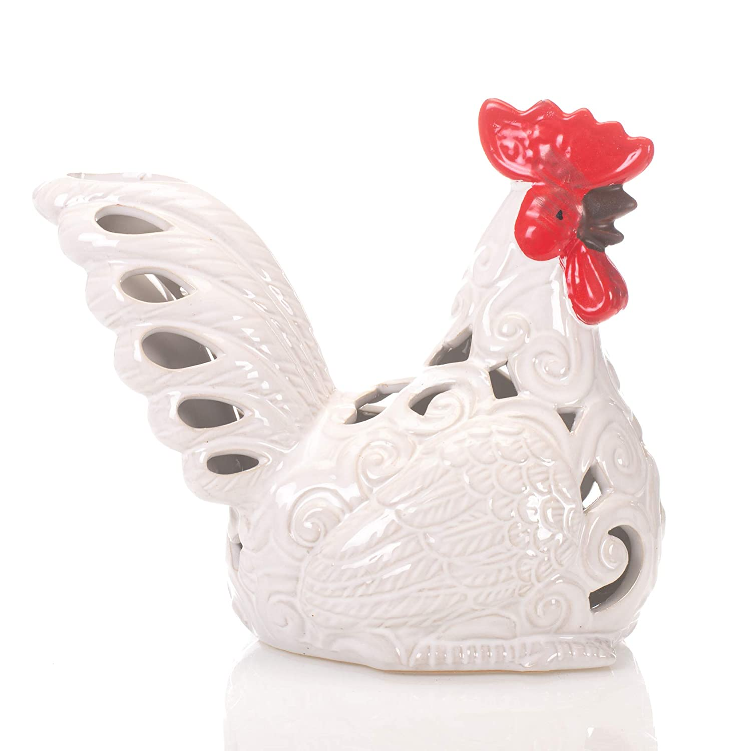 Drew Derose Glossy White Rooster LED Lighted 5 Inch Ceramic Collectible Figurine
