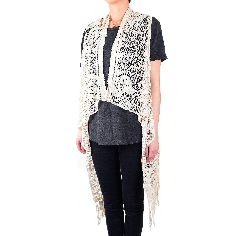 White Deer Women's Sleeveless Floral Lace Vest Cardigan Kimono Open Front Long Fringe (Tan)