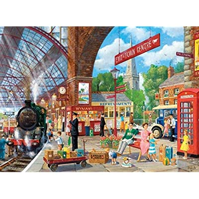 YIPINQUAN Jigsaw Puzzles 500 Pieces for Adults and Kids Fun Old Train Station Wooden Puzzle Educational Toys Home Decor Wall Art: Toys & Games
