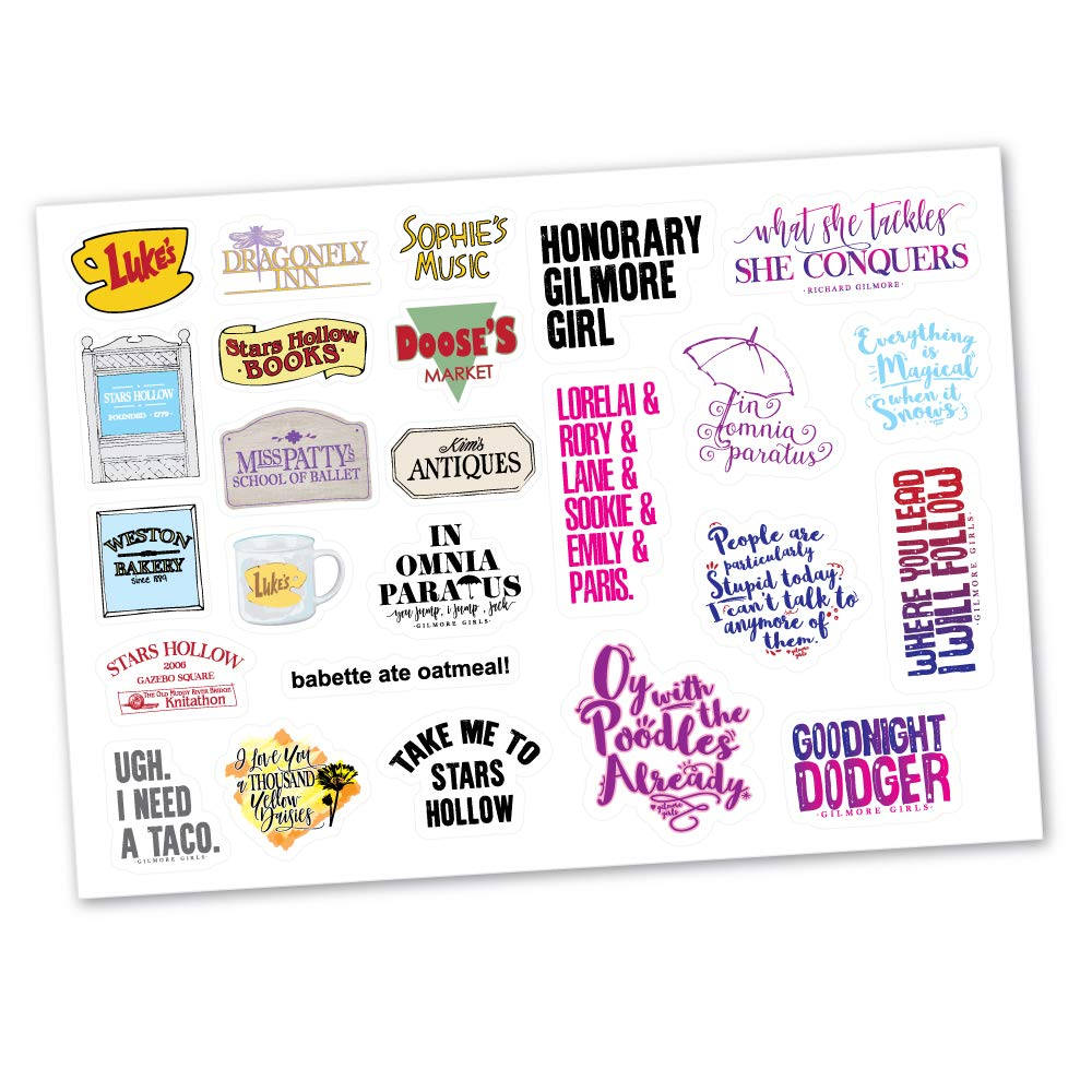 Gilmore Girls Sticker Set Designs - Famous Quotes Coffee Lukes Poodles Stickers for Notebooks, Planners, Tumblers, Cellphones